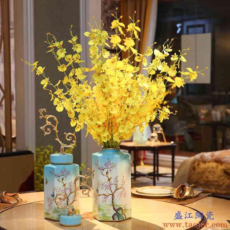 新中式陶瓷花瓶摆件客厅插花干花欧式电视柜玄关样板间家居装饰品