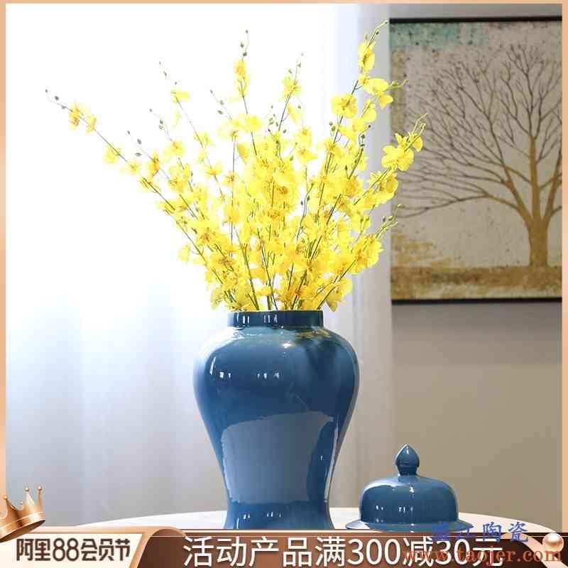 中式创意客厅会所装饰将军罐花瓶陶瓷花器花插茶叶罐茶几玄关摆件