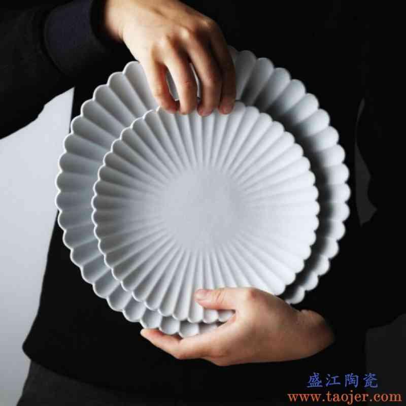 北欧风磨砂菊皿哑光花型餐盘菊花甜品盘点心盘家用西餐盘陶瓷餐具