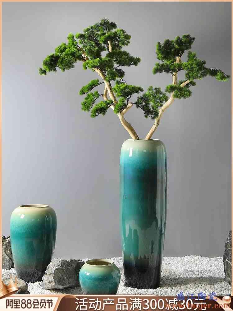 新中式景德镇陶瓷客厅落地花瓶商场橱柜花插花器售楼部样板间摆件