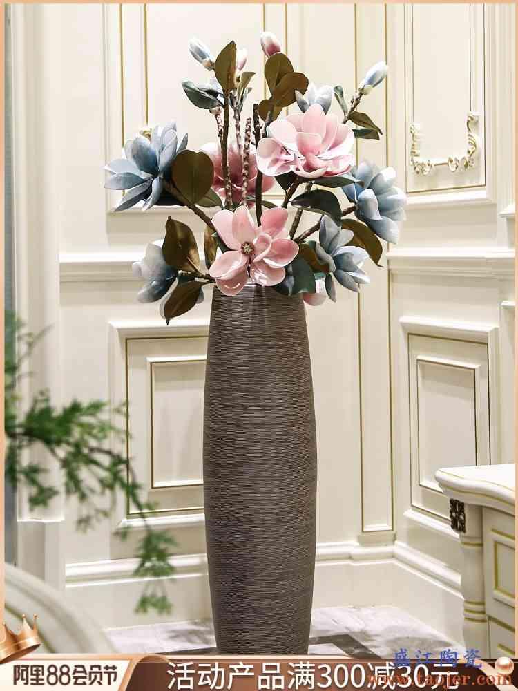 景德镇落地大号陶瓷花瓶新中式花插器客厅玄关卧室干花装饰品摆件