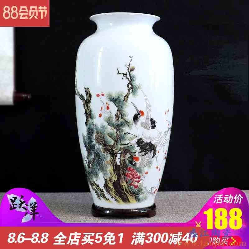 景德镇花瓶干花装饰品摆件手绘陶瓷器客厅插花山水花鸟手工工艺品