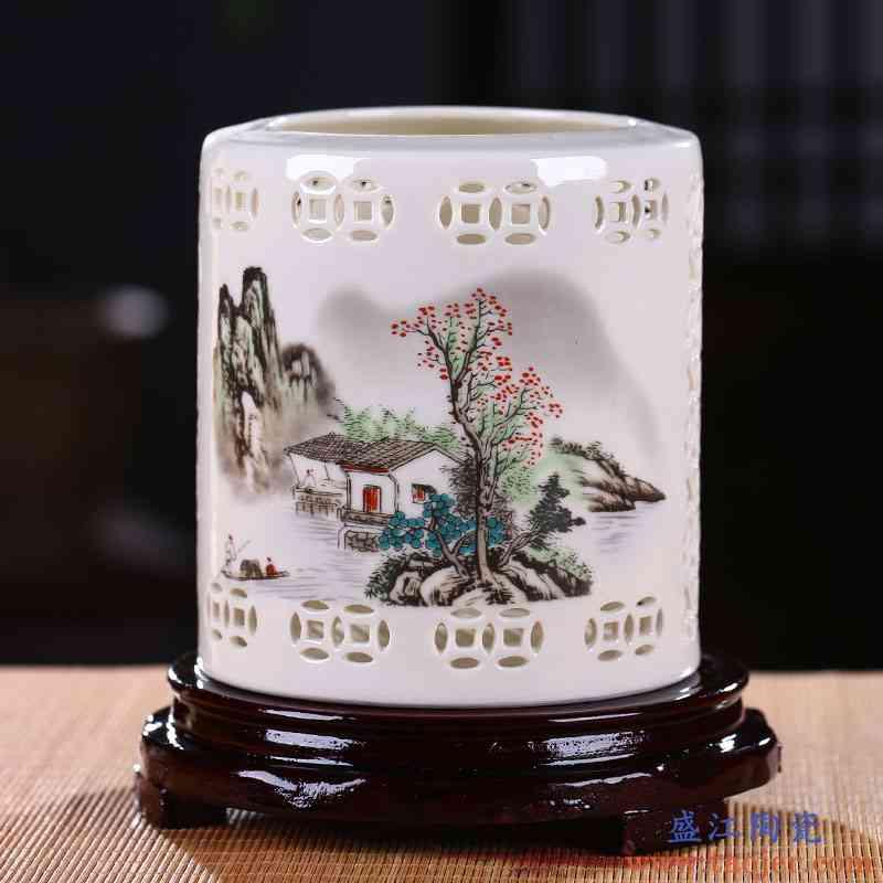 景德镇陶瓷笔筒复古手工办公桌摆件书房文房四宝毛笔筒教师节礼物