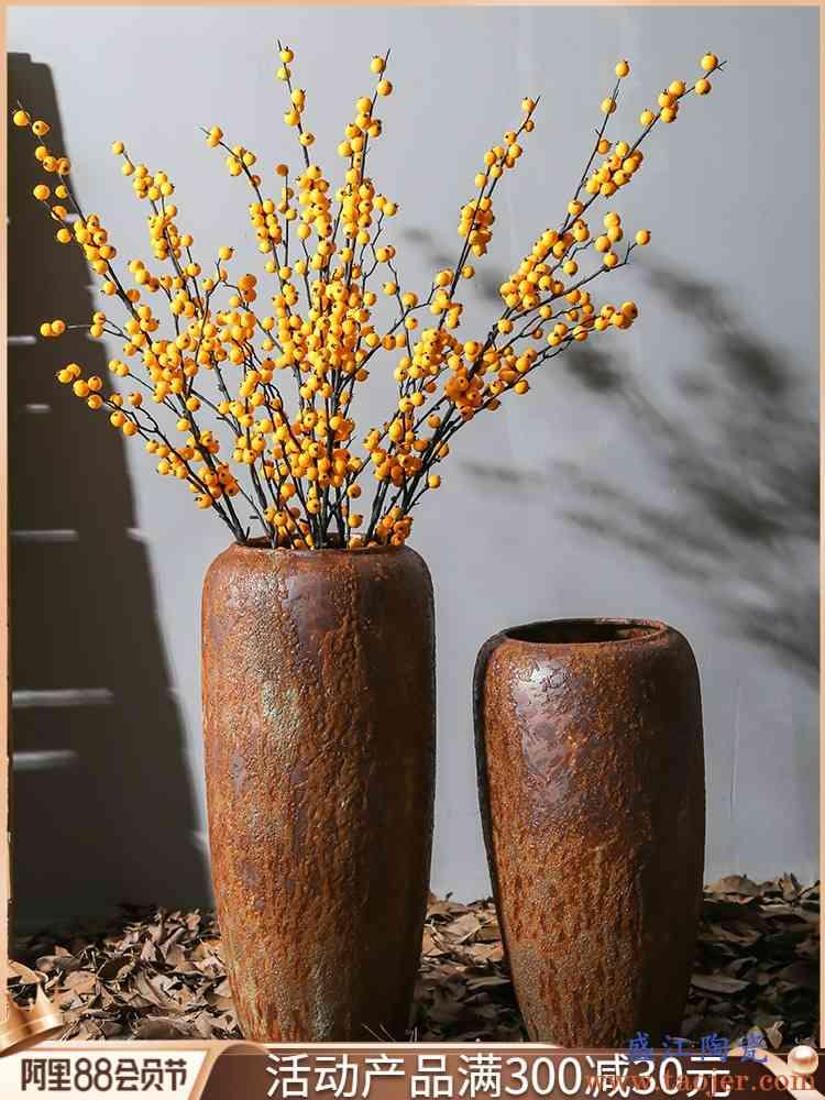 粗陶复古落地陶瓷花瓶客厅茶室装饰摆件书房样板间落地花插花器