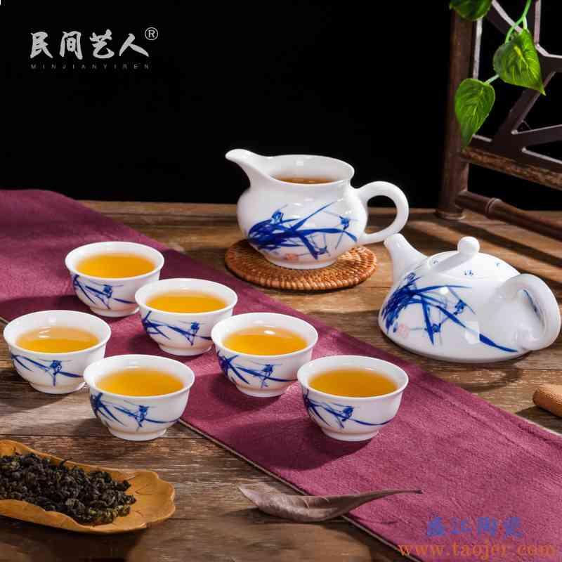 景德镇瓷器手绘青花茶具套装 家用陶瓷功夫茶杯茶壶公道茶器整套