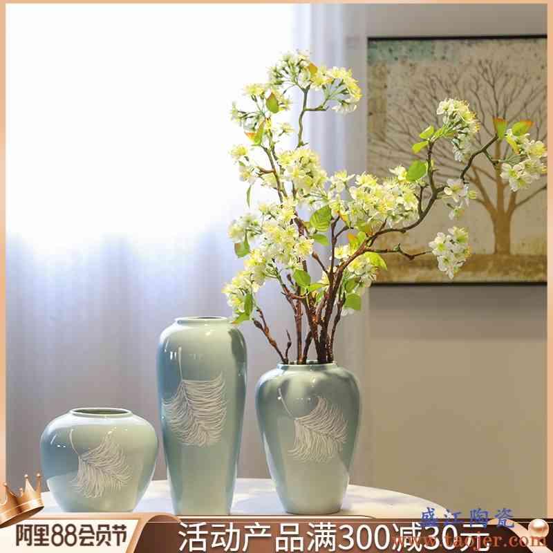 景德镇陶瓷手工绘画台面花瓶会所样板间新中式装饰花插客厅小摆件