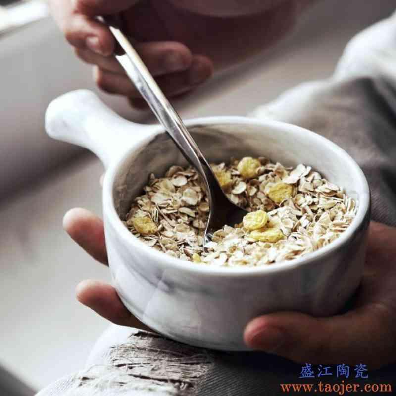 北欧风ins 创意陶瓷餐具家用烤碗大理石沙拉碗早餐牛奶碗点心水果