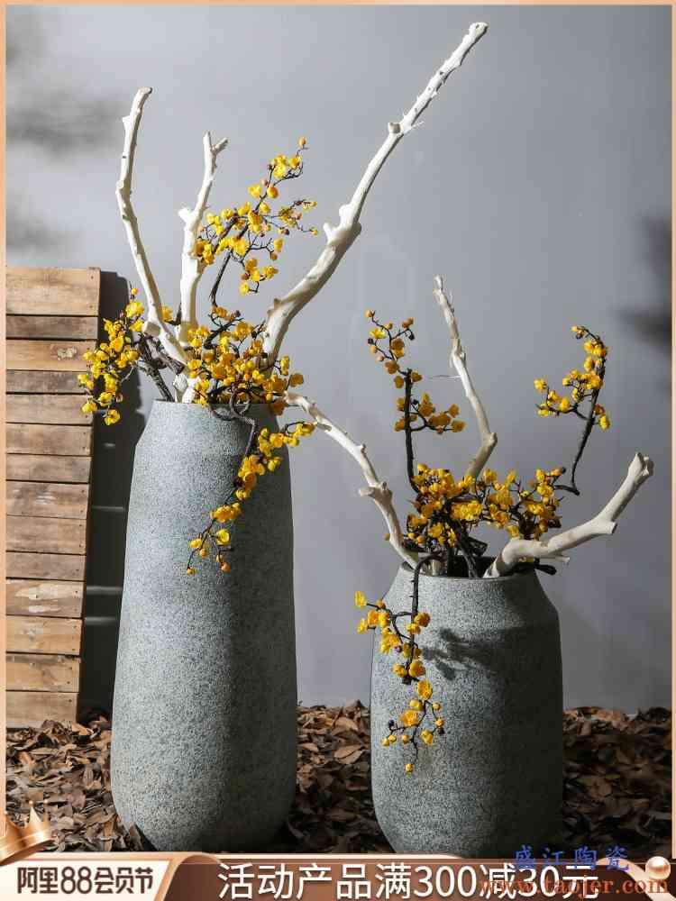 景德镇新中式陶瓷客厅落地大花瓶摆设商场样板间大号花插复古花器