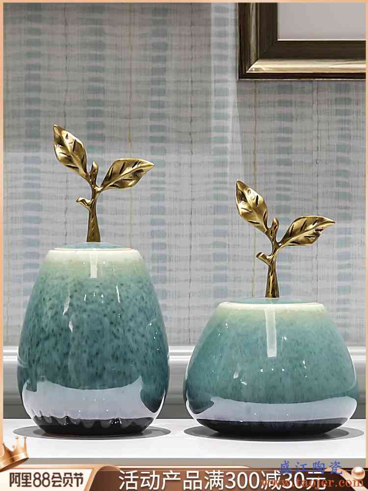 景德镇创意新中式陶瓷摆件客厅电视柜餐桌茶几储蓄罐摆设花插花器