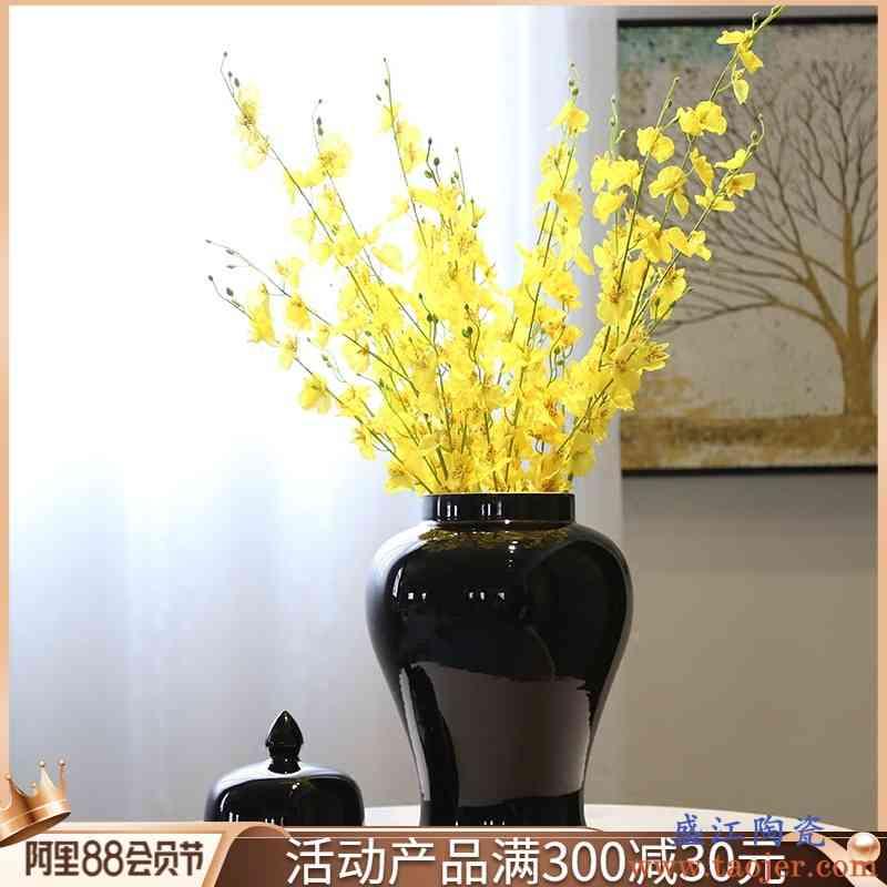 景德镇陶瓷新中式台面花瓶黑色将军罐茶叶罐糖果罐装饰花插摆件