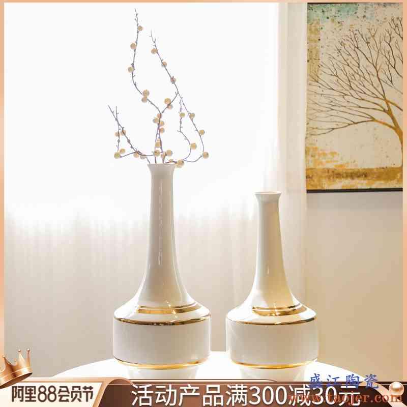 景德镇陶瓷轻奢台面装饰摆件酒店别墅样板房大花瓶花插新中式花器
