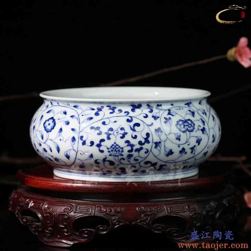 京德贵和祥景德镇手工陶瓷功夫 茶具配件水洗杯洗青花缠枝莲茶洗