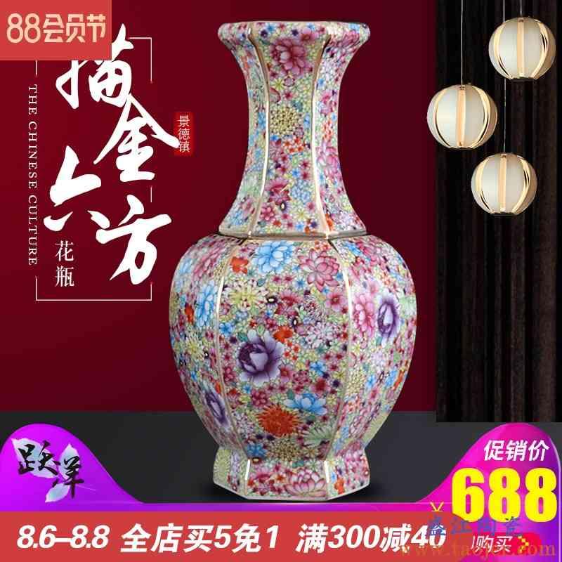 仿古乾隆花瓶景德镇陶瓷器珐琅彩摆件客厅插花典藏艺术装饰工艺品