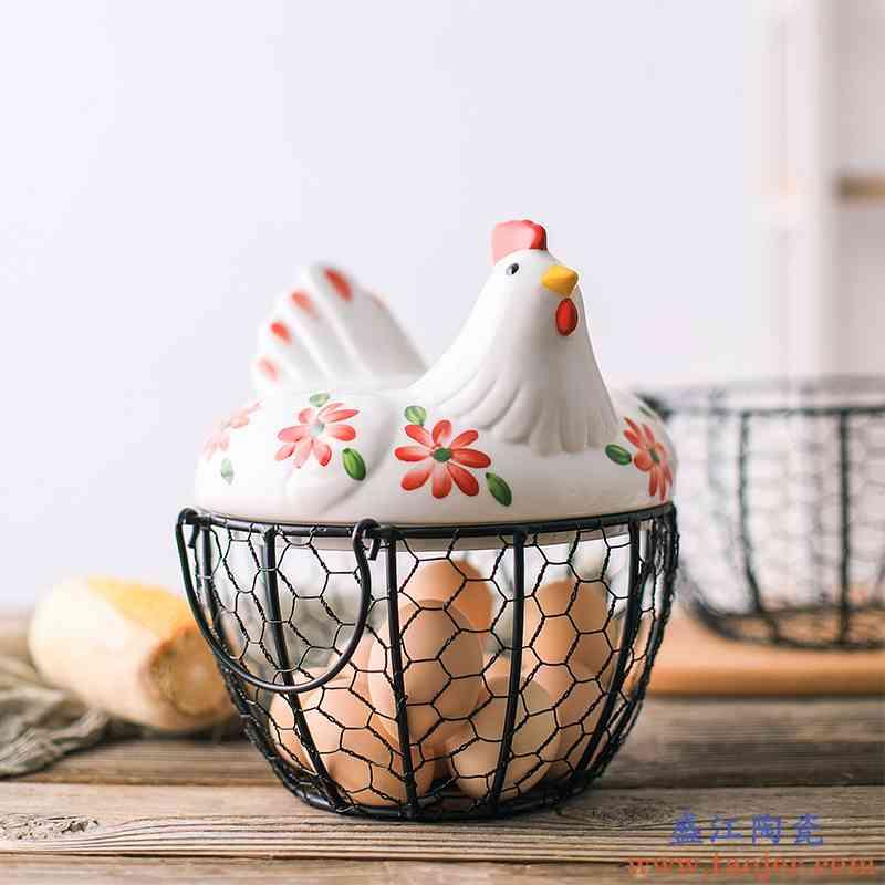陶瓷鸡蛋篮水果篮大蒜土豆杂物蓝陶瓷厨房装饰创意母鸡收纳铁编篮