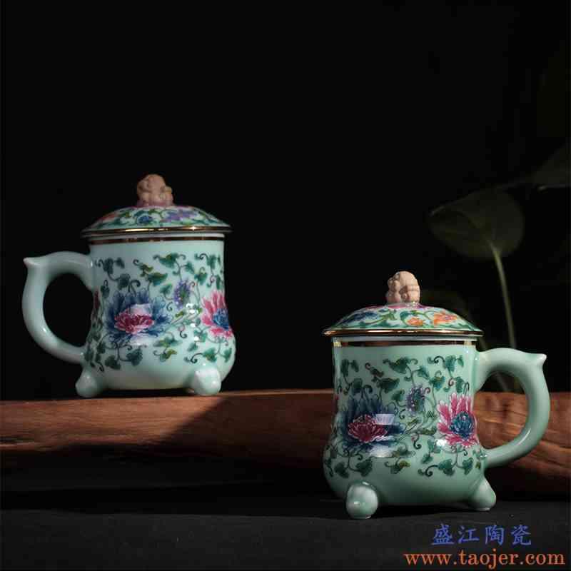 红鑫彩绘青瓷茶杯陶瓷杯子 貔貅创意办公杯随手杯泡带盖茶杯
