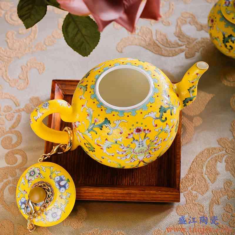 红鑫景德镇手绘剔花/爬花/轧道 粉彩茶器收藏茶具8头宫廷御用瓷