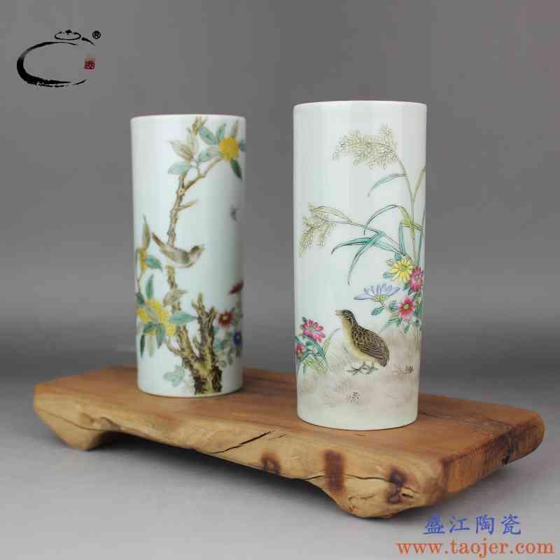 贵和祥景德镇窑粉彩收藏茶具笔筒文房用品京德手工手绘摆件装饰品