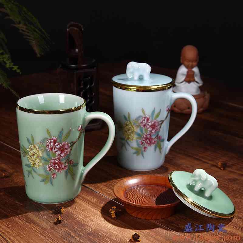 红鑫办公室茶杯陶瓷 景德镇茶具家用带盖茶杯青瓷单个杯