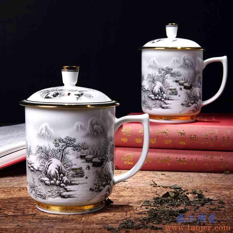 红鑫彩绘景德镇茶杯陶瓷带盖骨瓷大水杯子器个人办公会议礼品杯