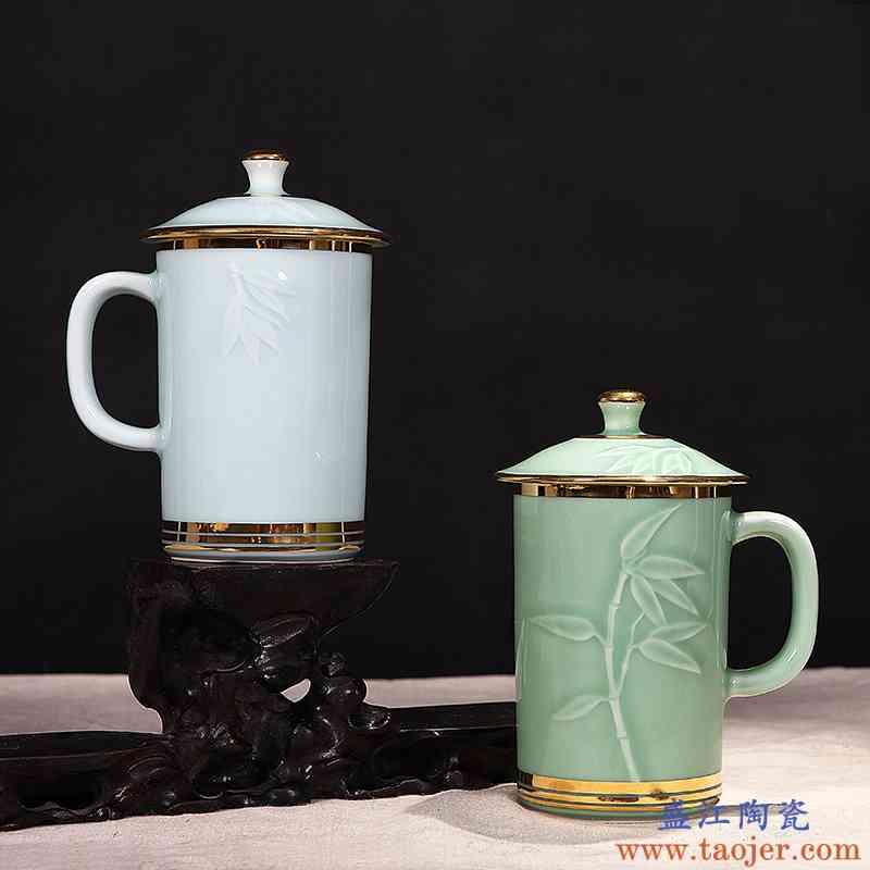 红鑫黄金彩绘景德镇陶瓷办公室带盖茶杯青瓷茶具茶杯水杯单杯