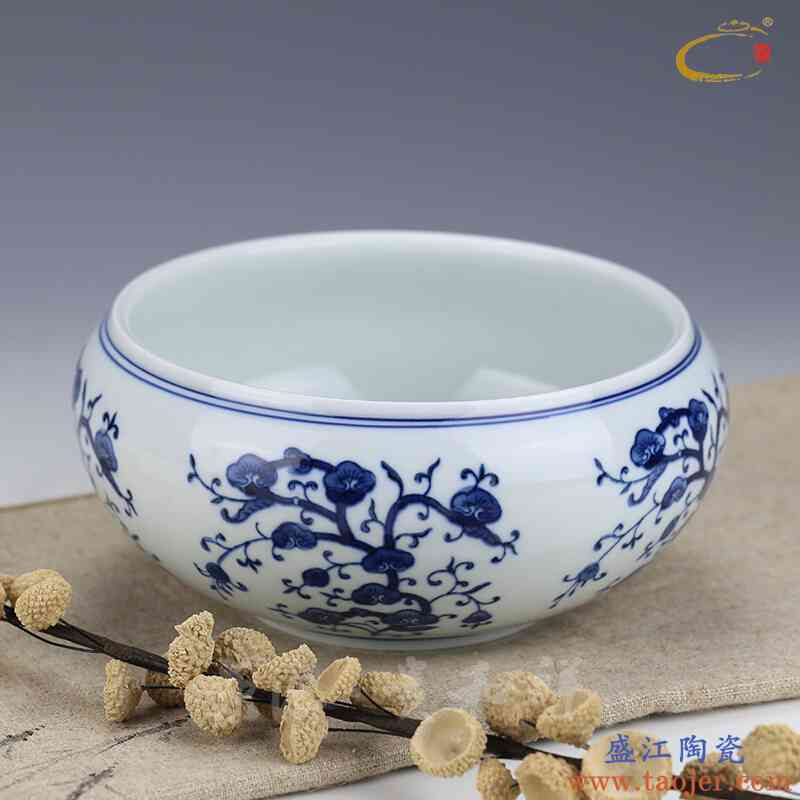 京德贵和祥手工手绘青花灵芝水洗景德镇大号功夫茶具茶道配件茶洗