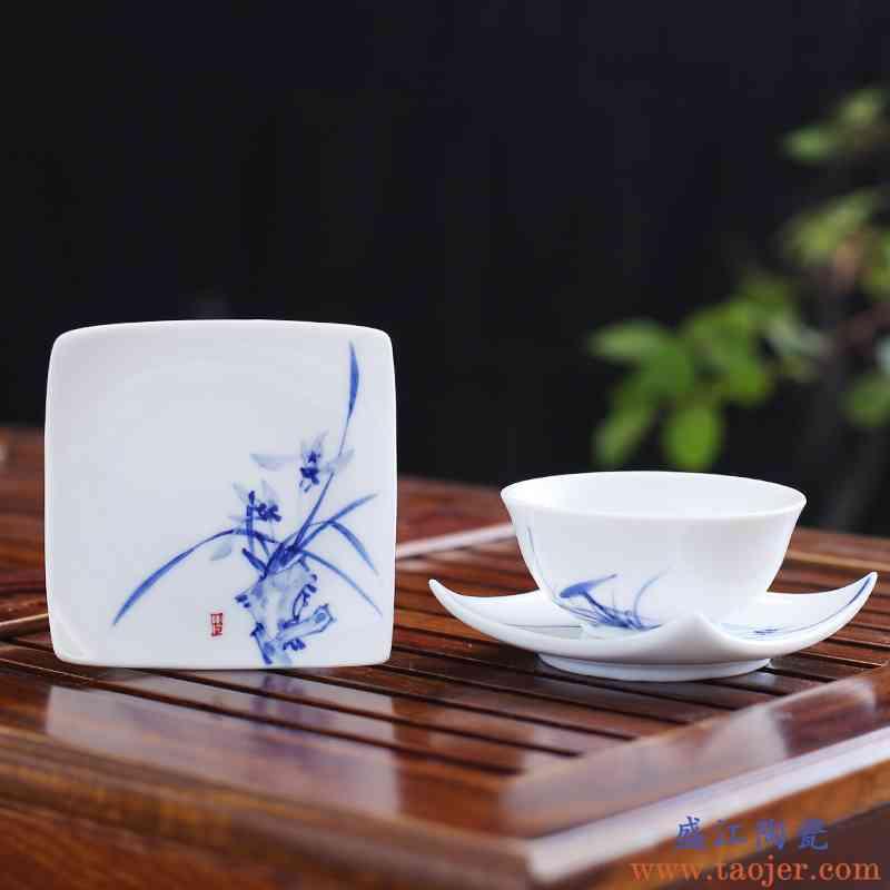 。聚景陶瓷茶杯垫茶托 景德镇手绘青花瓷功夫茶具茶道零配件隔热