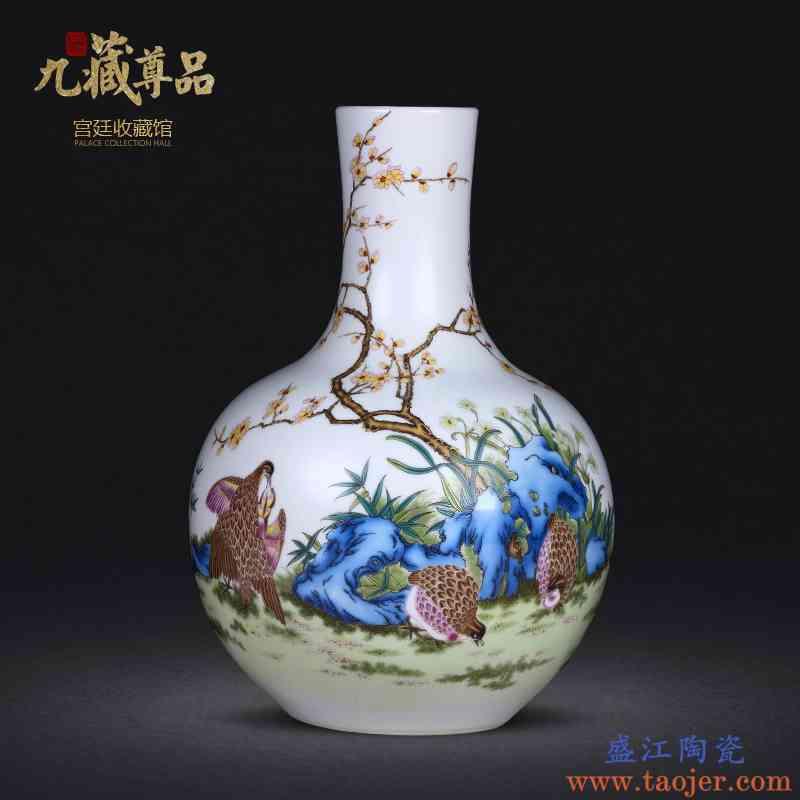 景德镇陶瓷器手绘竹报平安花瓶客厅插花家居手工艺术工艺品摆件