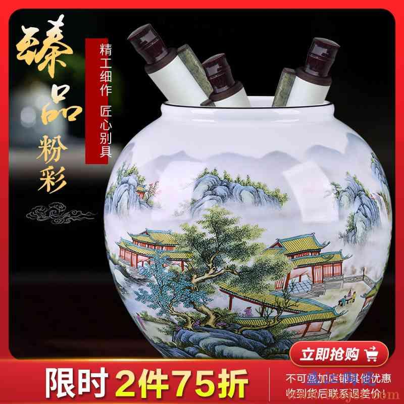景德镇陶瓷器摆件花瓶插花粉彩坛子客厅装饰品电视柜博古架工艺品