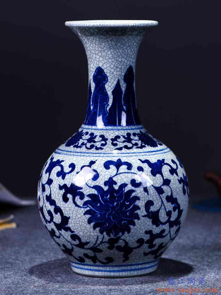景德镇陶瓷器 仿古青花瓷花瓶插花器现代中式客厅装饰品工艺摆件