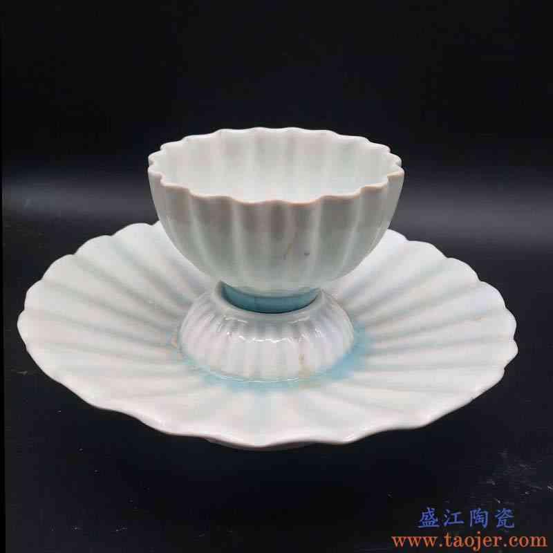 景德镇影青瓷器托盏杯净水杯瓷器仿北宋影青瓷器杯温润瓷器杯