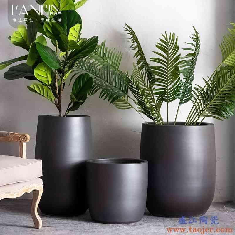 陶瓷花盆北欧简约客厅室内绿植卧室装饰摆件大号清仓黑色落地花瓶