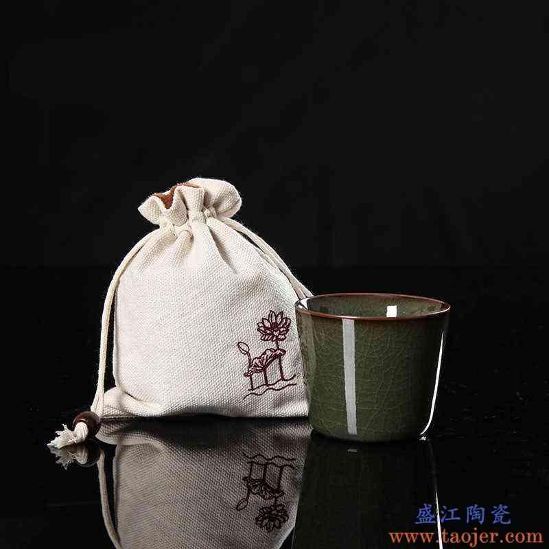QY 聚景青瓷陶瓷茗杯盏王武手工杯铁胎哥窑单杯 汤吞品茗茶杯