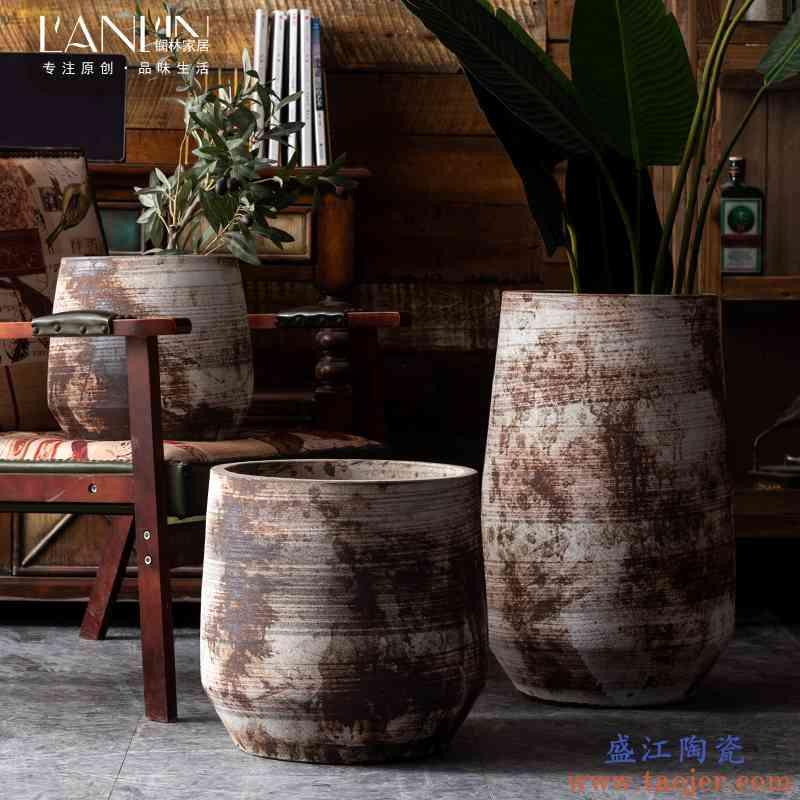 新中式复古陶瓷花盆摆件客厅插花绿植装饰落地花瓶禅意粗陶大陶罐