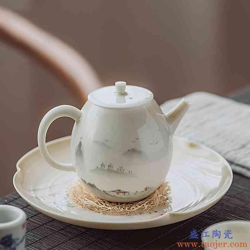 景德镇手绘山水图草木灰茶具盖碗套组手工功夫茶具套组家用泡茶