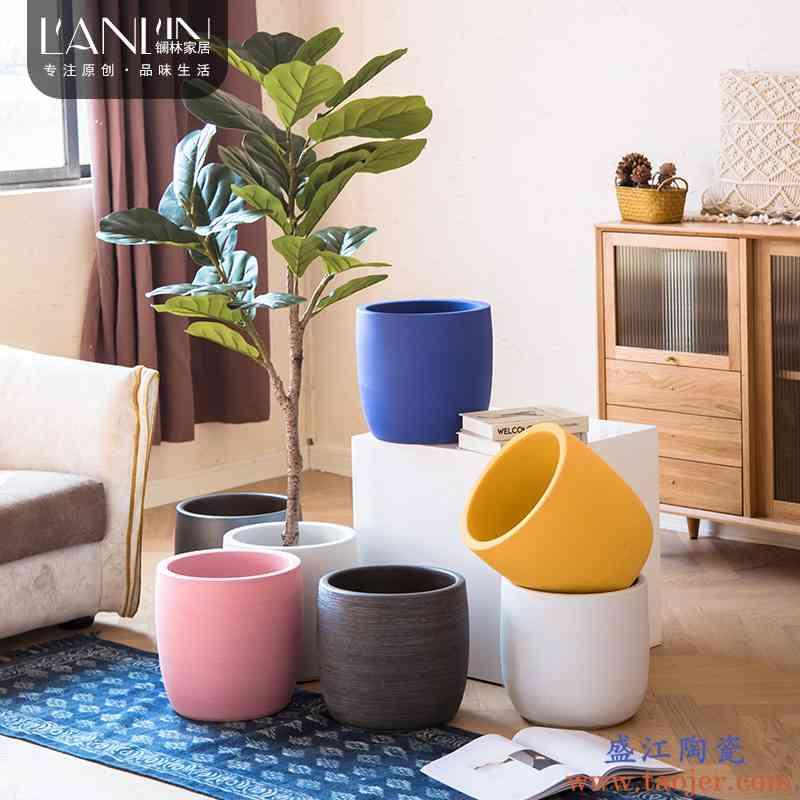 北欧创意陶瓷花盆圆形大号现代简约客厅室内落地绿植陶瓷花瓶摆件