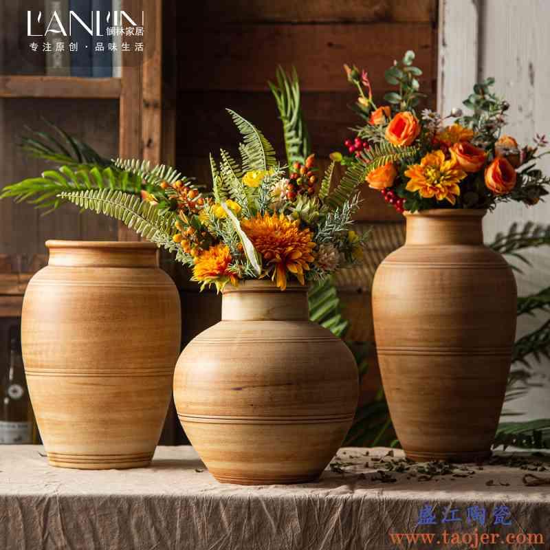复古陶瓷花瓶摆件客厅插花干花莲蓬陶罐粗陶卧室房间装饰假花摆件