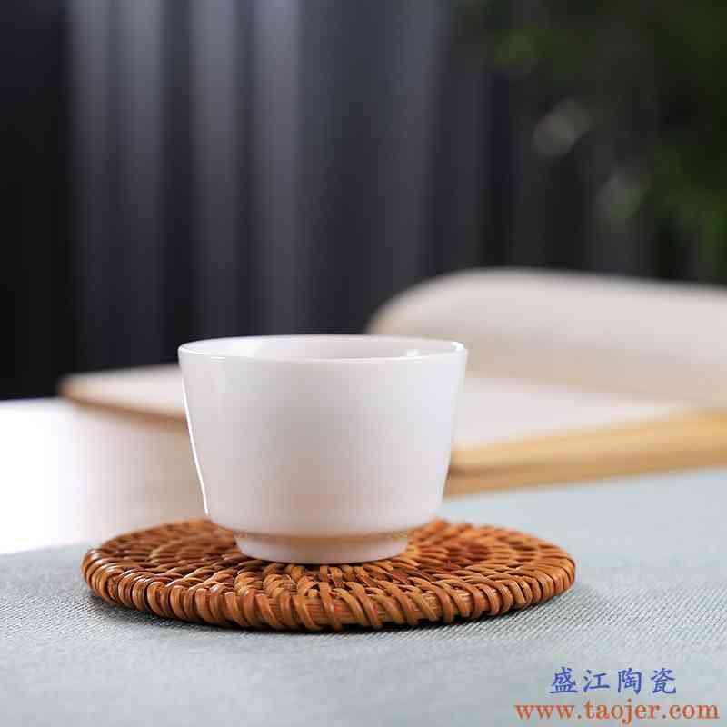 。聚景千年火品茗杯一口杯景德镇陶瓷套装纯手工个人白小号薄功夫