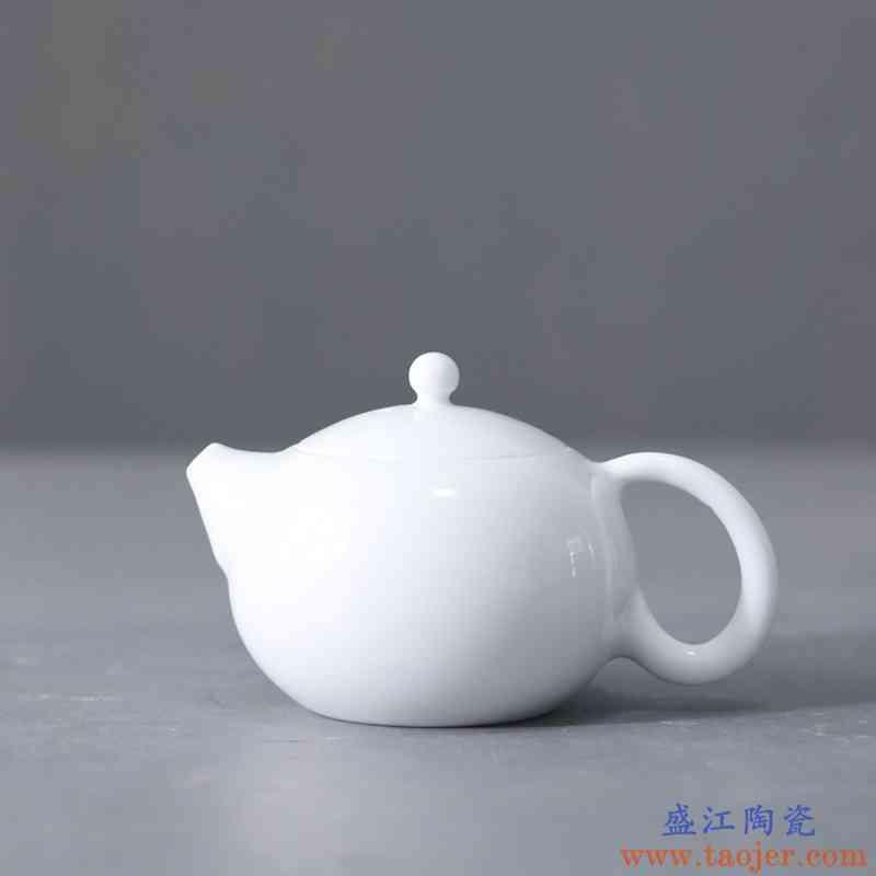 聚景景德镇白瓷茶壶陶瓷君子壶泡茶壶西施壶企业LOGO贴花定制