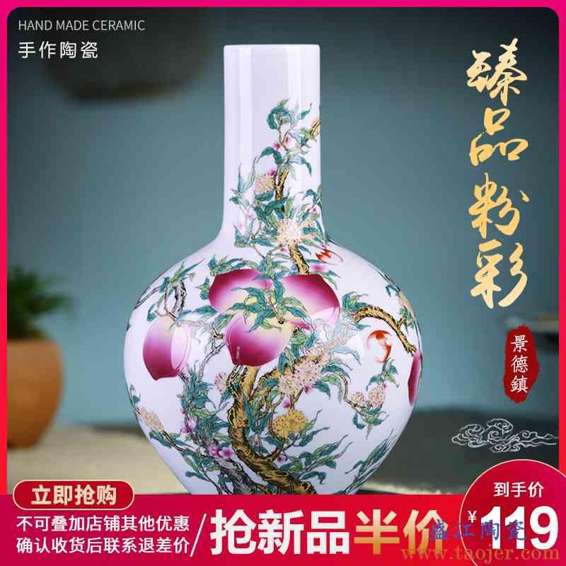 景德镇陶瓷器花瓶粉彩插花中式瓷瓶家居客厅书房电视柜装饰品摆件