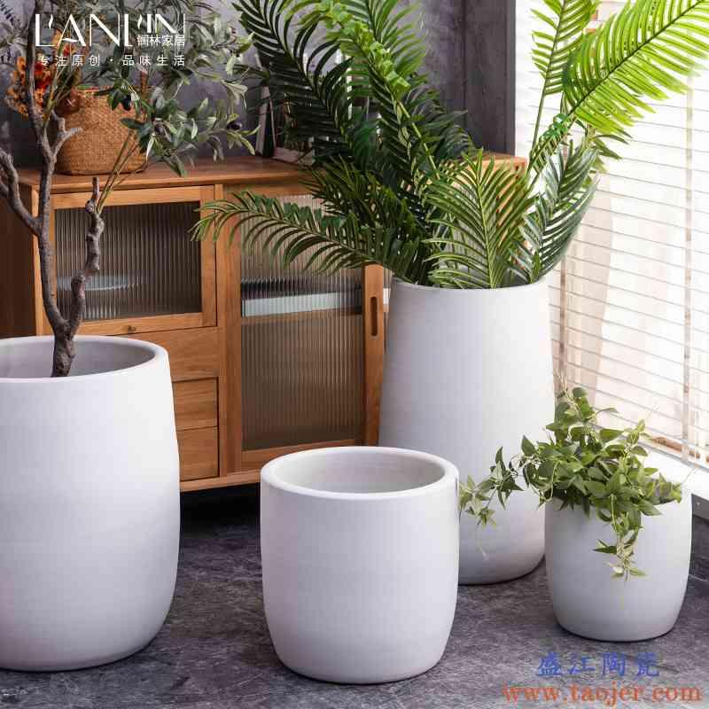 落地花盆陶瓷绿植缸白色客厅装饰摆件北欧现代创意景德镇大号花瓶