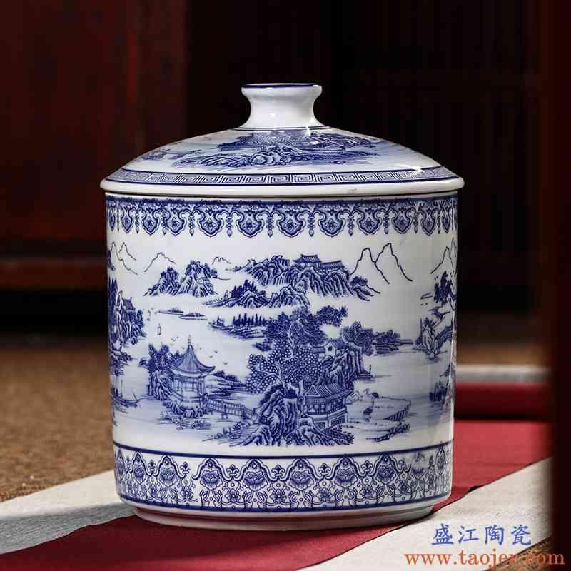 景德镇陶瓷储物罐密封带盖米坛米桶米罐米缸防虫防潮茶叶罐10斤