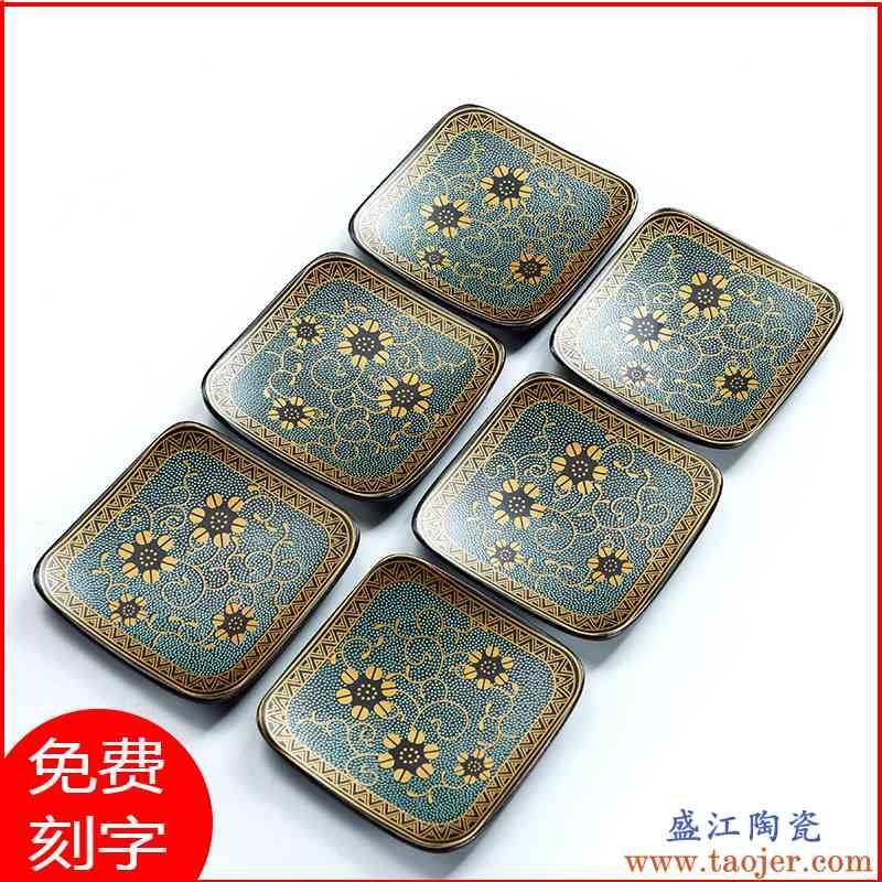 创意杯垫 茶道 组合功夫茶具配件茶杯托陶瓷隔热垫茶艺茶杯垫禅意
