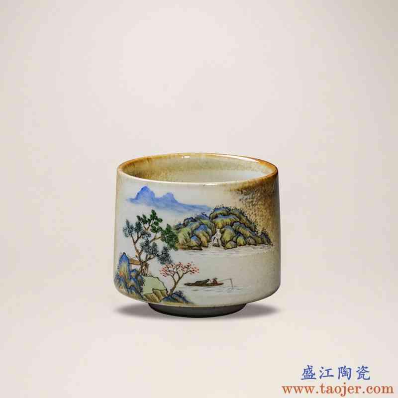 。聚景景德镇功夫茶杯窑变手绘茶杯品茗杯单个杯陶瓷茶具柴烧建盏
