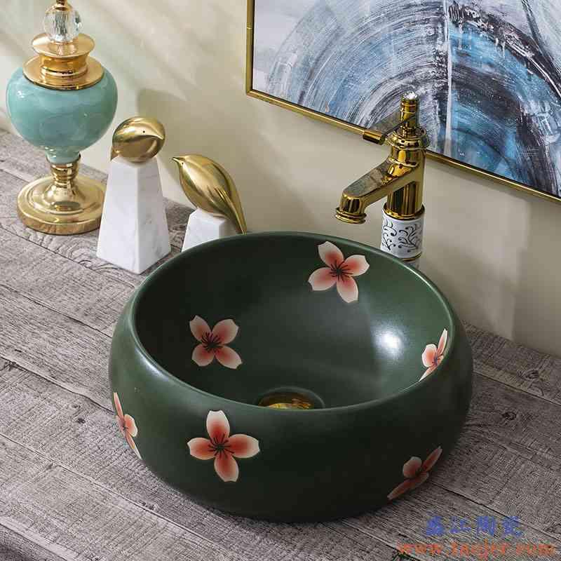 艺术台上盆洗手盆卫生间复古简约面盆龙头套装家用陶瓷洗脸盆