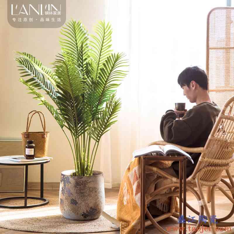 景德镇复古陶瓷花盆大号客厅卧室落地绿植干花装饰摆件大口径花瓶
