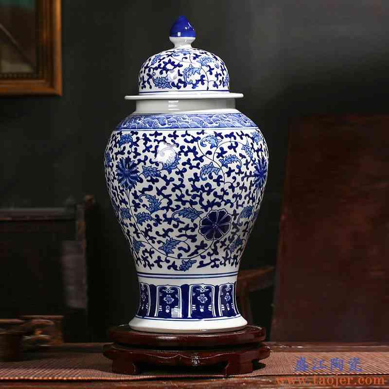 景德镇陶瓷器仿古青花瓷将军罐陶瓷摆件大号储物罐中式家居装饰品