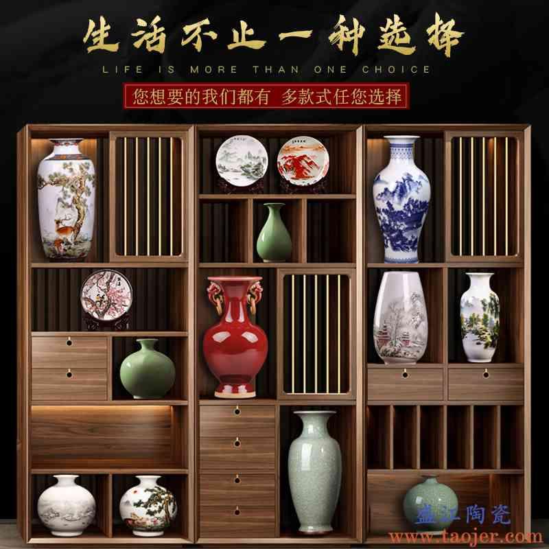 景德镇陶瓷器花瓶摆件客厅插花中式博古架装饰品青花瓷瓶小工艺品