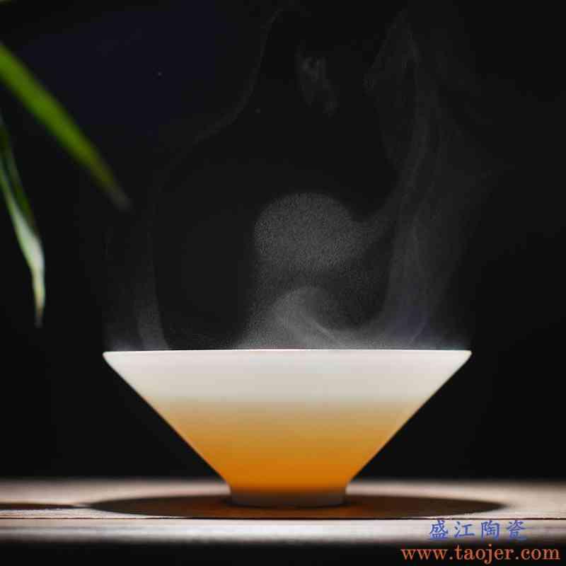 。聚景功夫茶杯 景德镇陶瓷茶杯定窑白瓷茶具小茶杯主人杯红茶杯