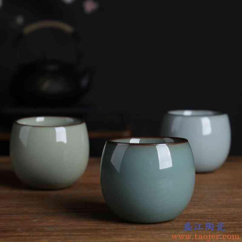 聚景 王武全手工杯功夫茶杯 铁胎紫口茶碗青瓷收藏把玩品茗杯