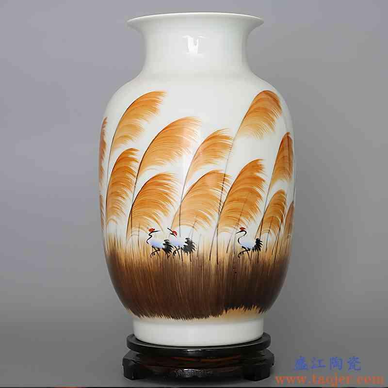 399景德镇陶瓷 手工手绘粉彩花瓶 客厅家居装饰电视柜工艺品摆件